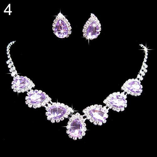 Nigerian Prom Wedding Bridal Crystal Rhinestone Waterdrop Necklace Earring Jewelry Set inlay Luxury Bridesmaids Jewelry Sets