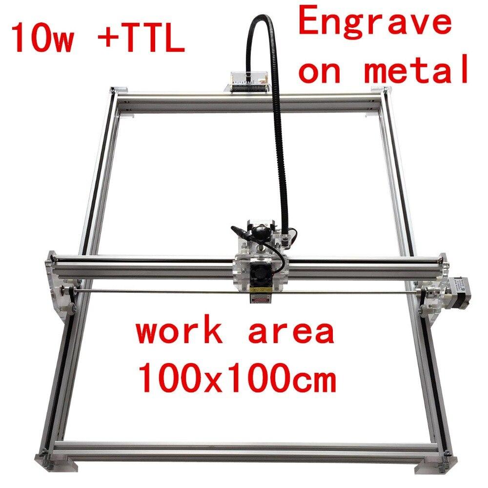 15 w Mini bureau bricolage Laser gravure graveur machine de découpe marque sur métal 100*100 cm grand worke zone laser cutter 10 w, 15 w