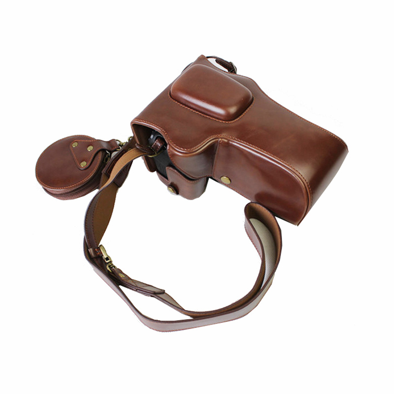 high quality portable PU Leather Camera Case <font><b>Cover</b></font> For <font><b>Canon</b></font> EOS 90D 80D 70D <font><b>60D</b></font> 80DII With Storage Bag Bottom Opening Case image
