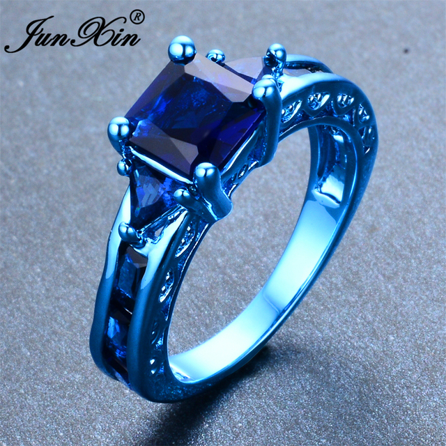 JUNXIN Female Geometric Ring Ring Retro Blue Gold Filled Fashion Jewelry Vintage Wedding Rings For Women New Year Gifts