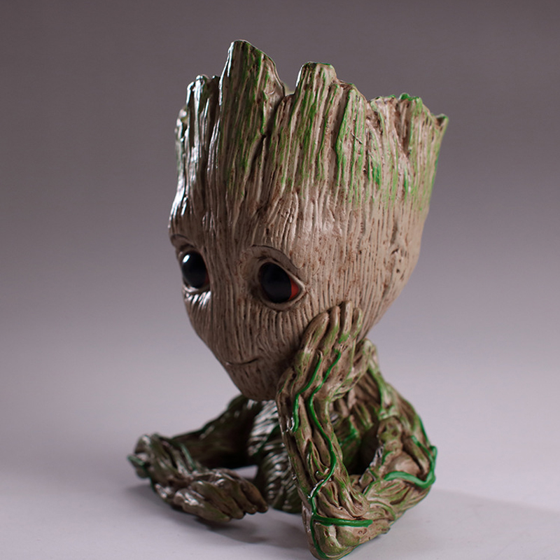 Christmas Gifts 14CM Tree Man Baby Anime Action Figure Dolls Penholder Guardians of The Galaxy Model Hero pen pot and flower pot 1