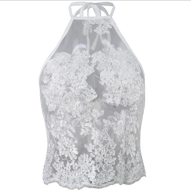 Elegant white lace crop top Summer beach backless short halter tops 2017 fashion sexy white party  women tank top 8