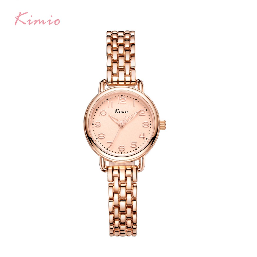 KIMIO Women Bracelet Watches Luxury Fine Stainless Steel Ladies Watch Rose Gold Color Dress Wristwatch Gift With Box kimio brand rose gold luxury slim bracelet ladies casual business waterproof clock women dress stainless steel mesh quartz watch
