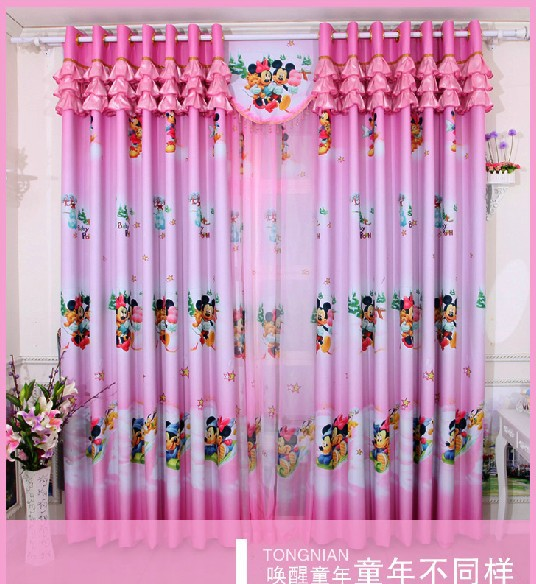 Hot sale cartoon curtains for living room of children pink blue for ...