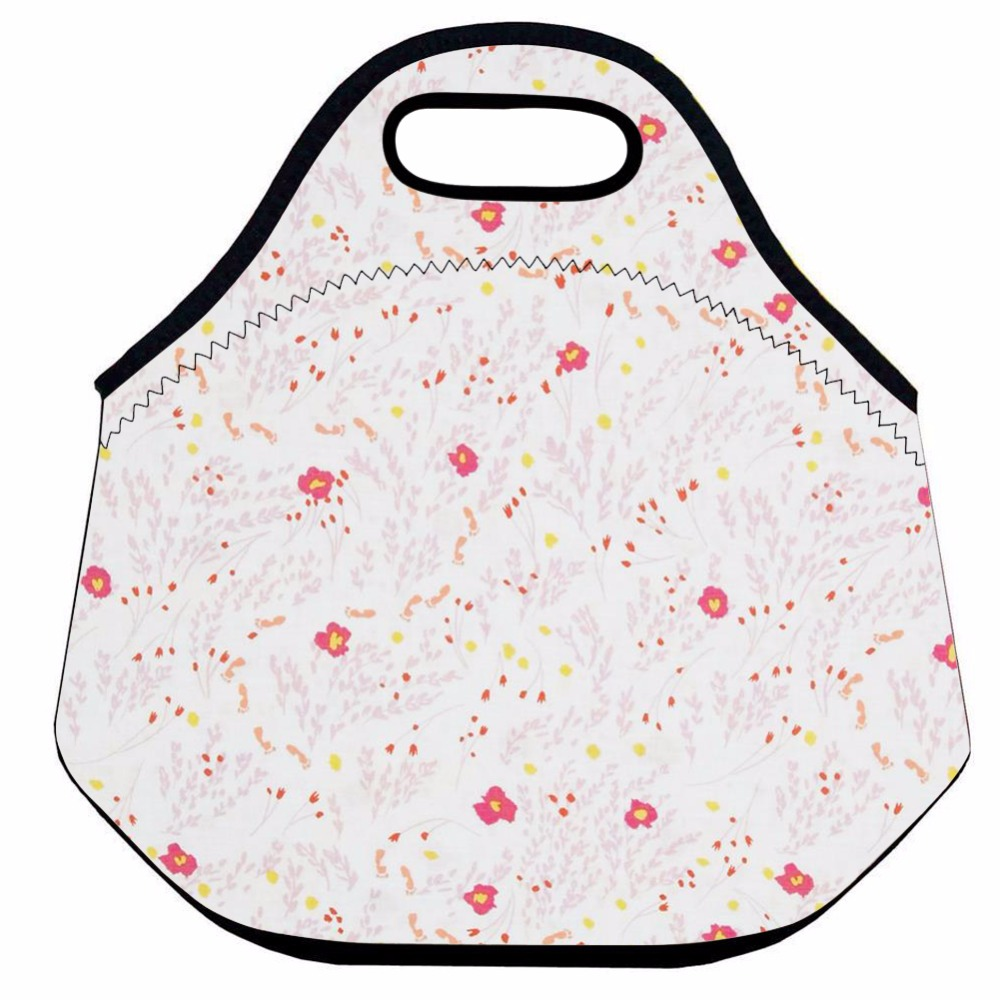 Pink Flower Neoprene Lunch Bag for Women and Kids ,Cute Thermal Lunch Bag,Kid Insulated Lunch Box Bag,Picnic Food Bag,Lunch Tote