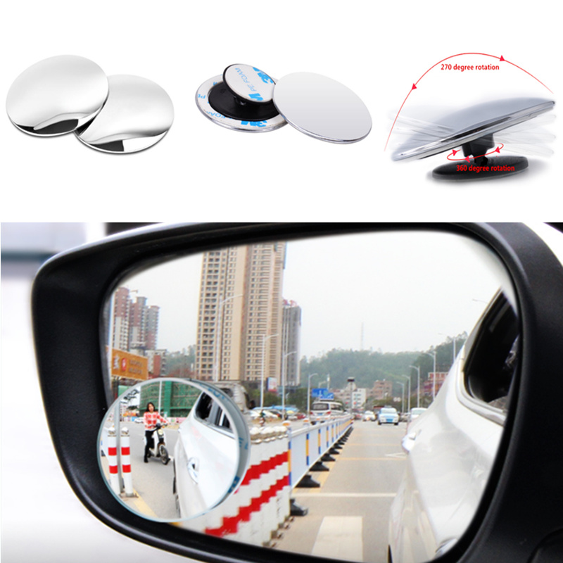 Universal 2PCS Auto 360 Wide Angle Car Small Round Mirror for Toyota Camry Highlander RAV4 Crown Reiz Corolla Vios Yaris L