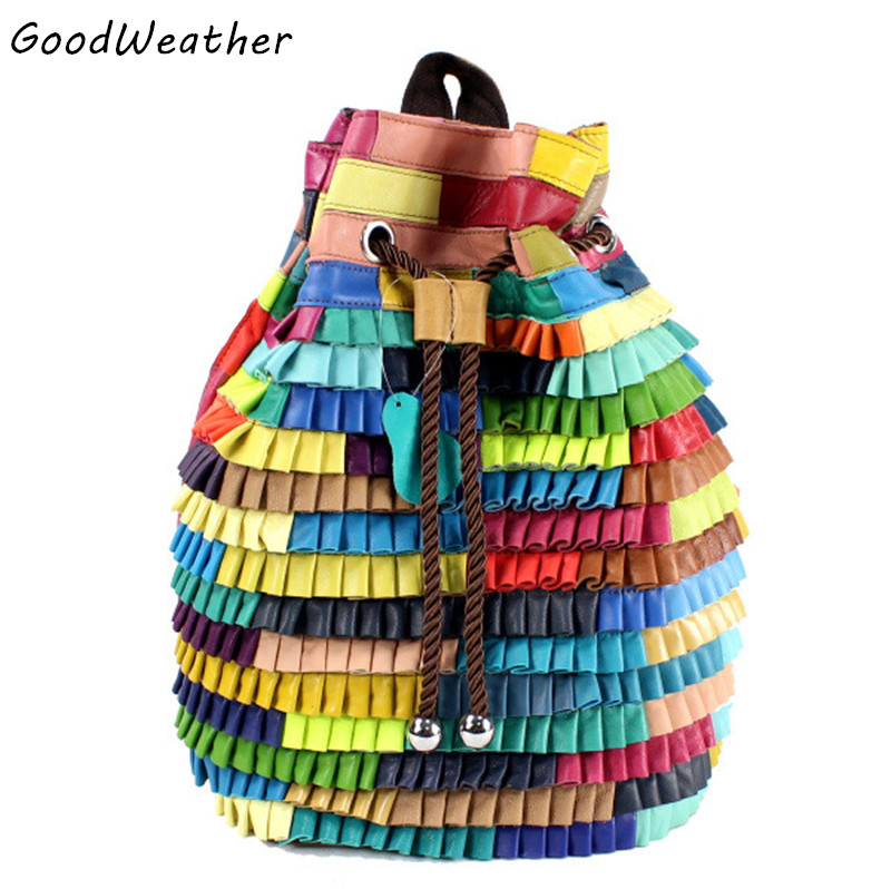 Genuine leather backpack for women designer sheepskin stitching patchwork bags fashion colorful drawstring backpacks femaleGenuine leather backpack for women designer sheepskin stitching patchwork bags fashion colorful drawstring backpacks female