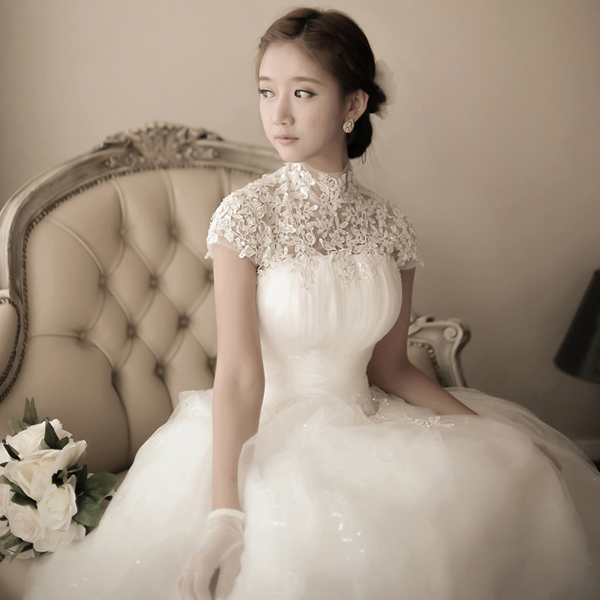 New Arrival Korean Princess white wedding ball gown high neck Ankle ...