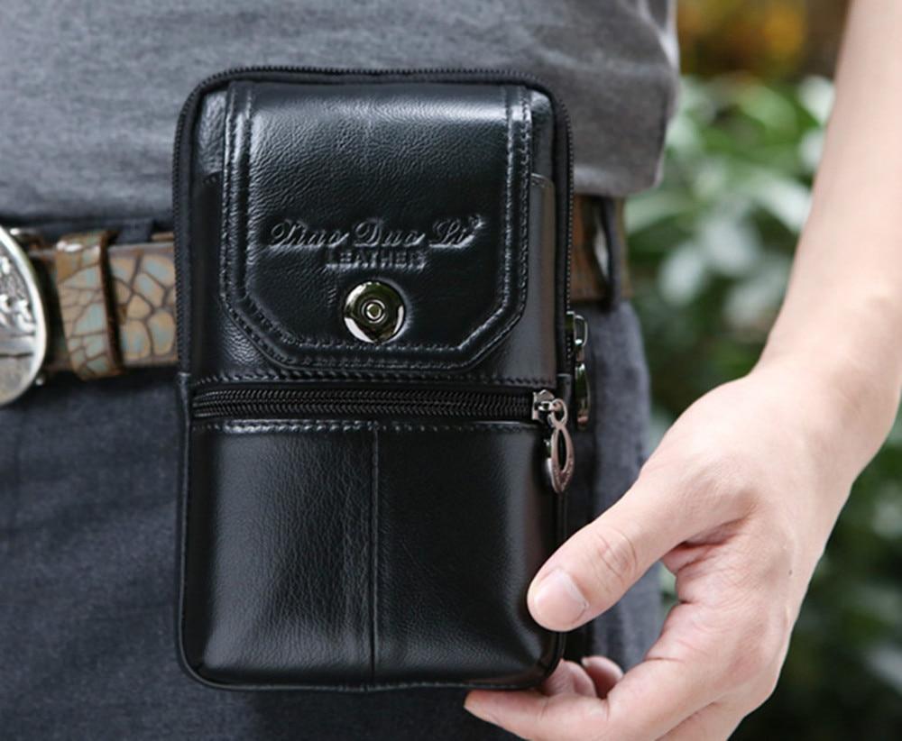 Fashion Men Genuine Leather Cowhide Waist Pack Bag Wallet Cell Mobile/Phone Pocket Key Case Small Belt Hip Bum Fanny Purse Pouch
