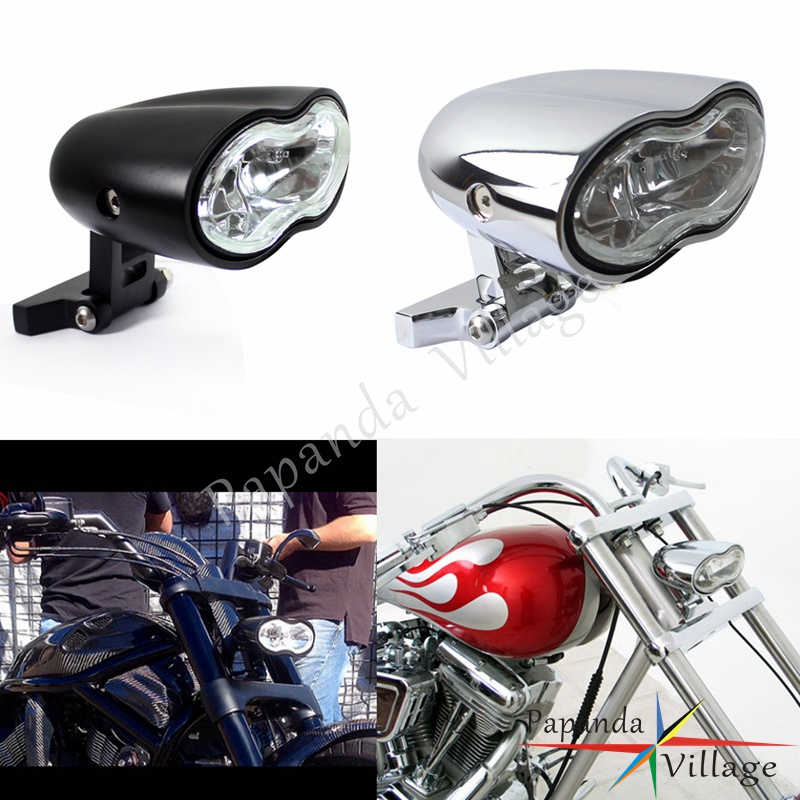 Custom Billet Chrome Dual Headlight Wave Halogen For Harley Motorcycle Universal