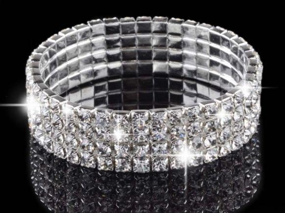 56% Скидка оптом) 4 ряда горный хрусталь браслет посеребренный Теннисный браслет Кристальный эластичный браслет - Окраска металла: Silver