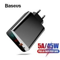 Baseus Quick Charge 4,0 3,0 USB Зарядное устройство для Redmi Note 7 Pro 30 Вт PD 5A перегружать быстрое зарядное устройство для телефона для huawei P30 iPhone X XR