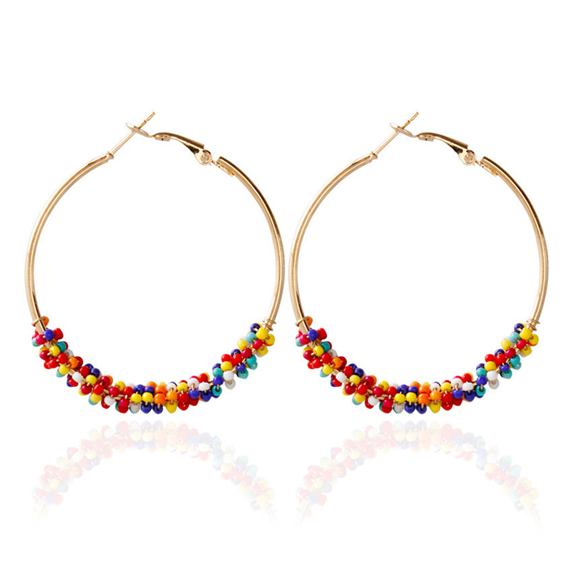 Hot 1Pair Multicolor Bead Boho Hoop Earrings Wedding Ethnic Circle Golden Color Vintage Women Jewelry Gifts