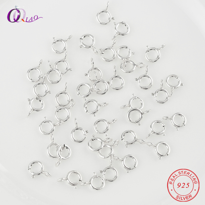 20pcs 5mm Best Quality Silver Spring Ring Clasps Hooks 925 sterling Silver Connection For Necklace Bracelet DIY Buckle