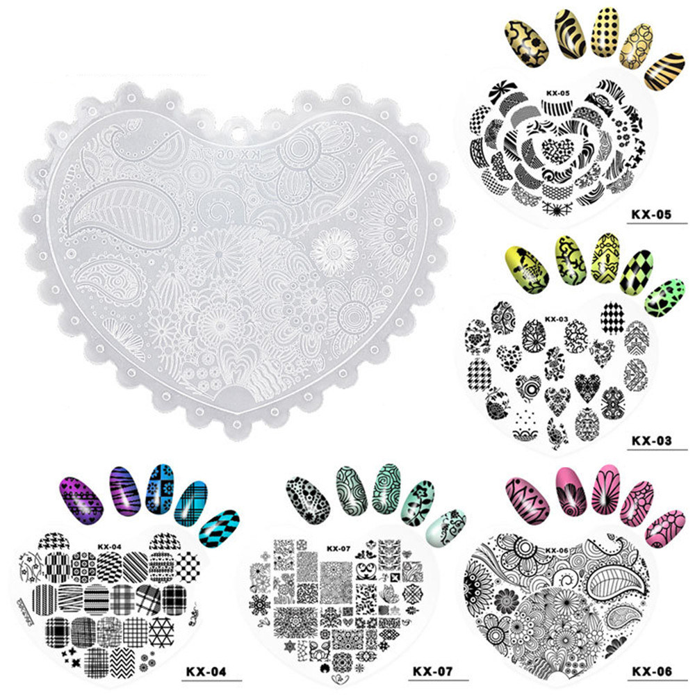 10 Types Heart Shape Nail Gel Image Stamp Flower Butterfly Romantic Elegant Plates plastic Image Nail