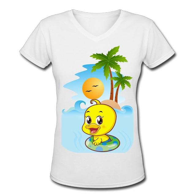 fa4ddc1f8f3cae Anatra E Palm Tree T-Shirt da Donna Con Scollo A V Moda Donna Tee Parti