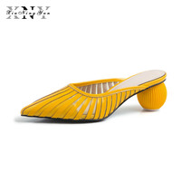 Hollow Women Mules Yellow Plus Size Elegant Party Pointed Toe Shoes Woman Pumps Genuine Leather Outdoor High Heels Slippers 2019