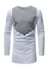 цены на 2019 new men's vertical stripe printed long sleeve base T-shirt в интернет-магазинах