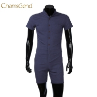 Men S Casual Slim Fit Overalls Short Sleeve Button Shirt Short Pant Fashion Rompers Jumpsuit Men