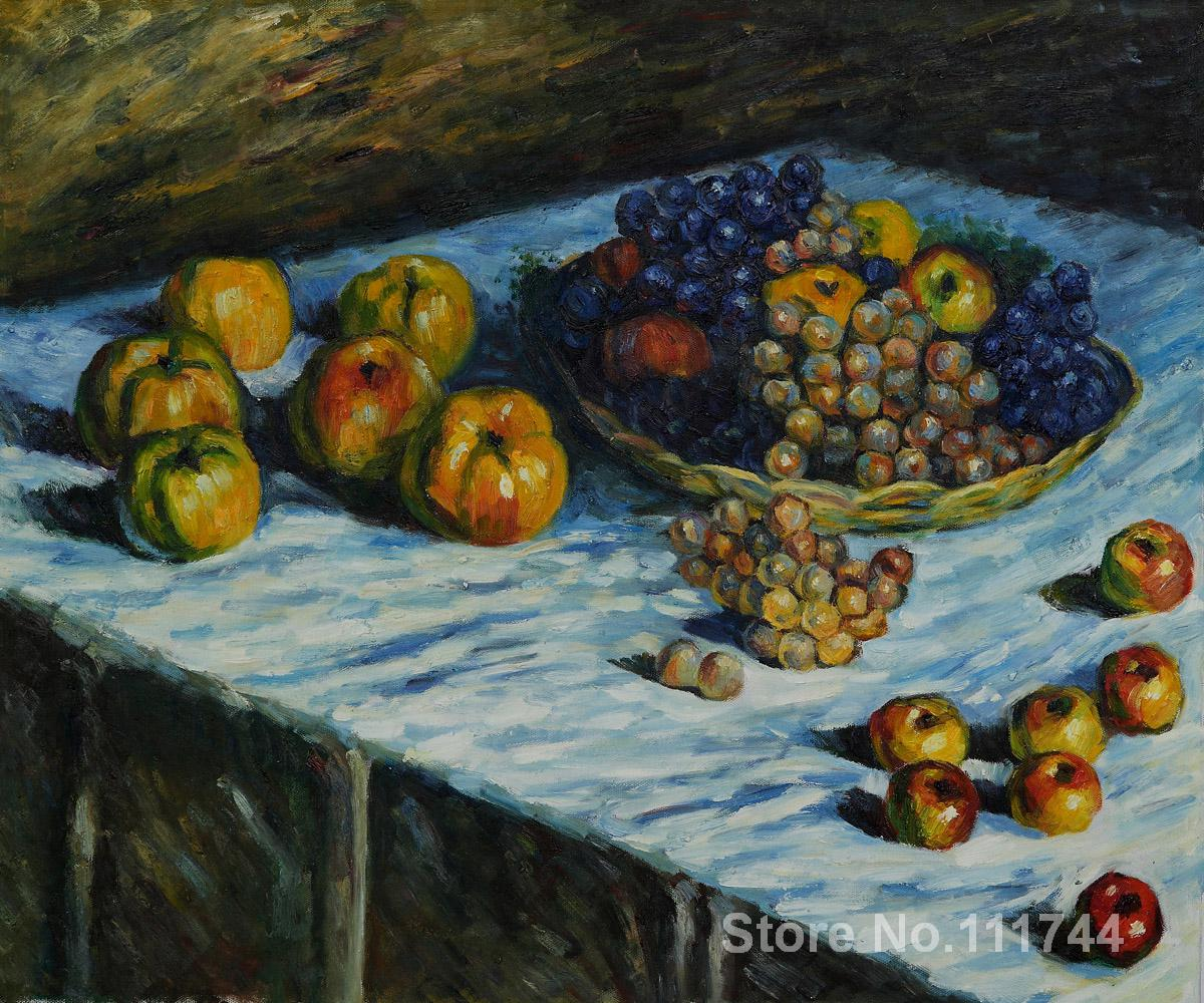Copy paintings of famous artist apples and grapes claude for Paintings to copy