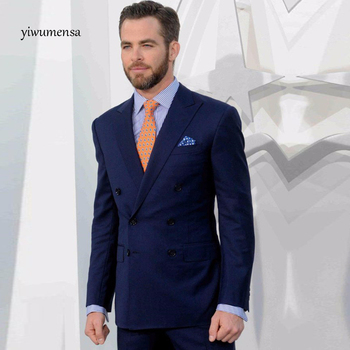 2017 Navy Blue/black Groomsmen Peak Lapel Groom Tuxedos Double-Breasted Men Suits Wedding Best Man (Jacket+Pants+Tie+dust bag)