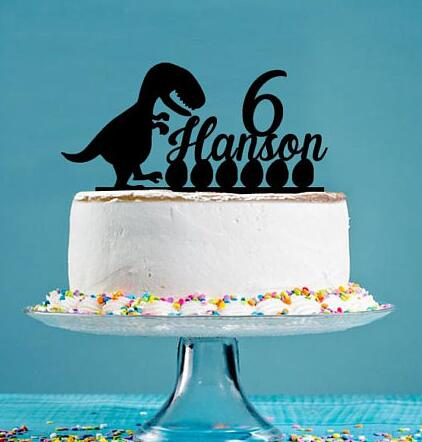 Custom Name Age Acrylic Dinosaur Egg Funny Birthday Cake Toppers