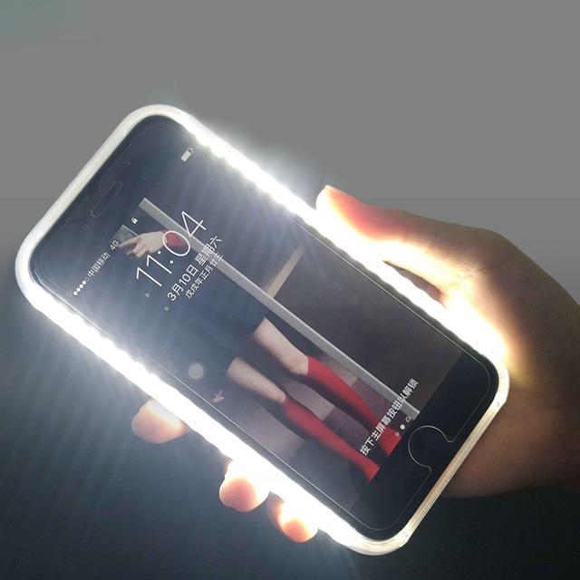 De luxe Lumineux coque de téléphone Pour iphone 6 6s 7 8 Plus X 11 Pro Parfait Selfie Allument Brillant Housse Pour iphone XS MAX cas