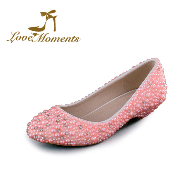 Love Moments Low heel handmade Wedding Shoes pink white pearl . 3d25d93d515a