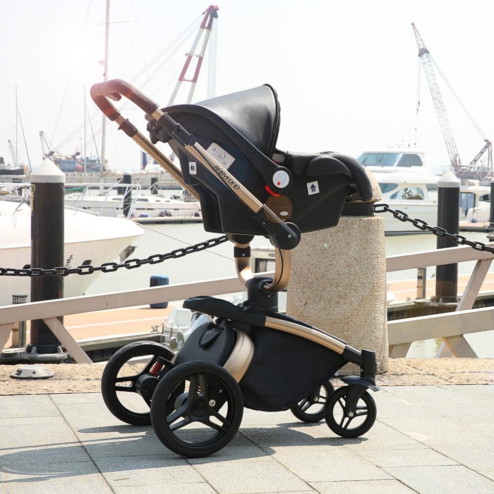 Babyfond Gratis skib! Nyfødte Luksus 3 i 1 Barnevogn Brand baby PU - Børns aktivitet og udstyr - Foto 4
