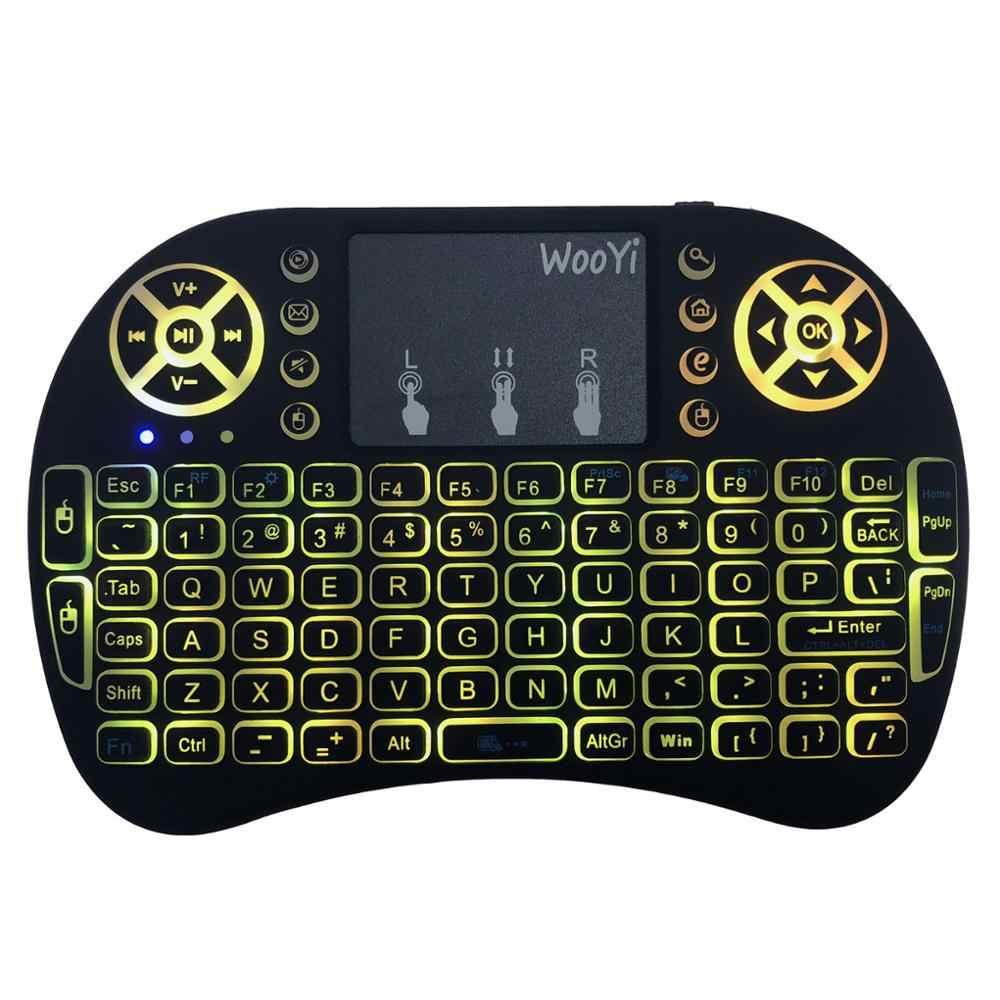 7 colori retroilluminato i8 Mini Tastiera Senza Fili 2.4ghz Inglese Russo 3 colore Air Mouse con Touchpad Telecomando Android TV Box