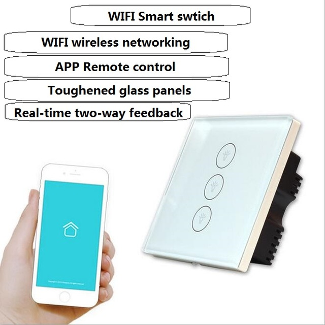 Wifi smart touch switch remote control waterproof tempered glass ...