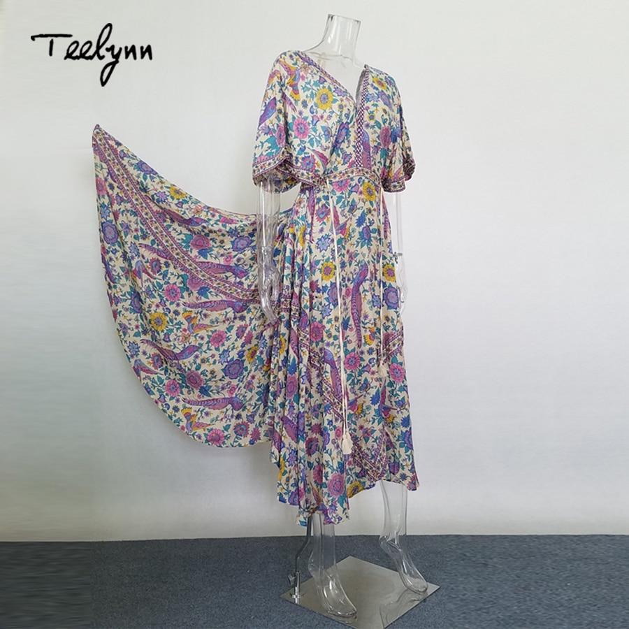 Maxi vestito da Boho 2017 uccello stampa floreale di estate profondo Scollo A V nappa del manicotto del batwing altalena di grandi dimensioni vestiti dalle donne della boemia abiti lunghi