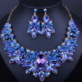 Free Shipping Luxurious Leaf Crystal Imitated Gemstone Bridal Jewelry Sets Wedding Jewelry Necklace and Earrings