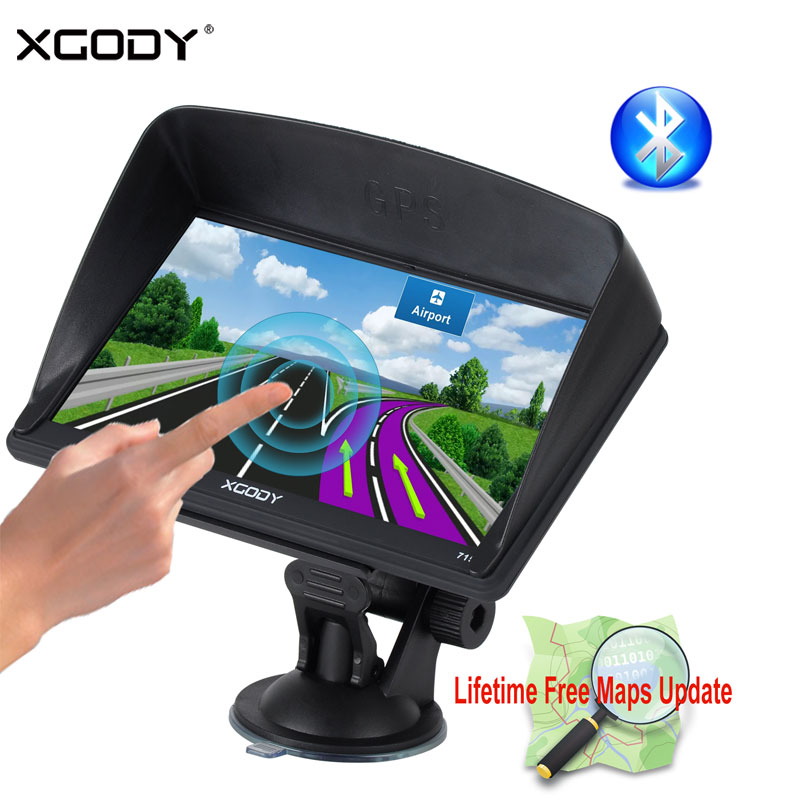XGODY 7 Car Truck GPS Navigation 128M+8GB Capacitive Screen Sat Nav FM Navigator+Reverse Camera Russian US AU 2018 EU Free Maps 4 3 inch car gps sat nav voice navigation 8gb fm mp3 mp4 ebook free uk eu au nz maps update