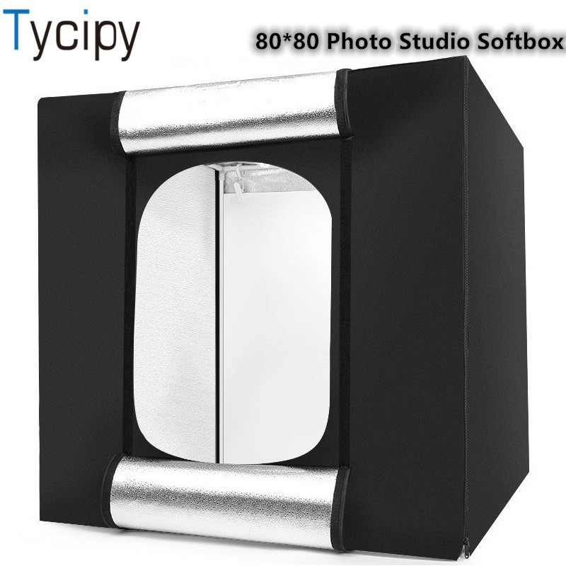 Tycipy 80*80*80 LED フォトスタジオソフトボックス折りたたみライトボックス 60 ワット白色光写真撮影の背景撮影テントキットギフト  グループ上の 家電製品 からの 卓上撮影 の中 1