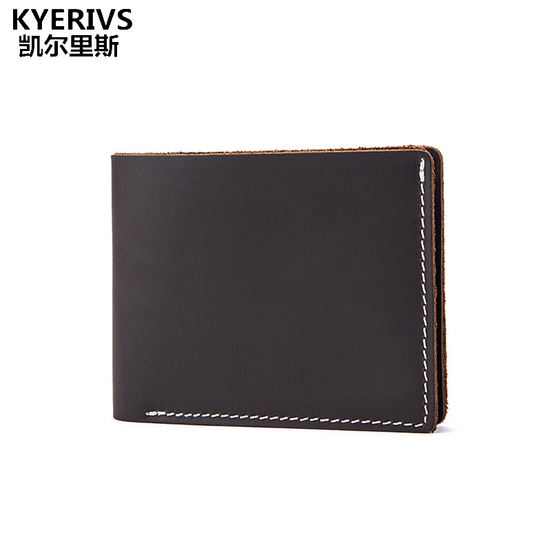 Crazy Horse Leather Wallet Men Vintage Brown Black Solid Short Design Small Male Purse Card Holder  Quality Men Wallets Casual male leather casual short design wallet card holder pocket