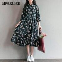 Summer Dress Floral Print Loose Waist Women Dress O Neck Cute Dress Black Color Plus Size