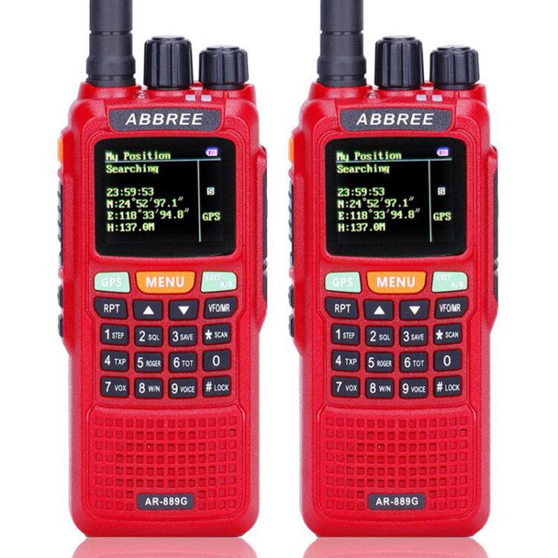 2pcs ABBREE AR 889G Walkie Talkie 10W GPS SOS Night Backlight Duplex Cross Repeater Dual Band