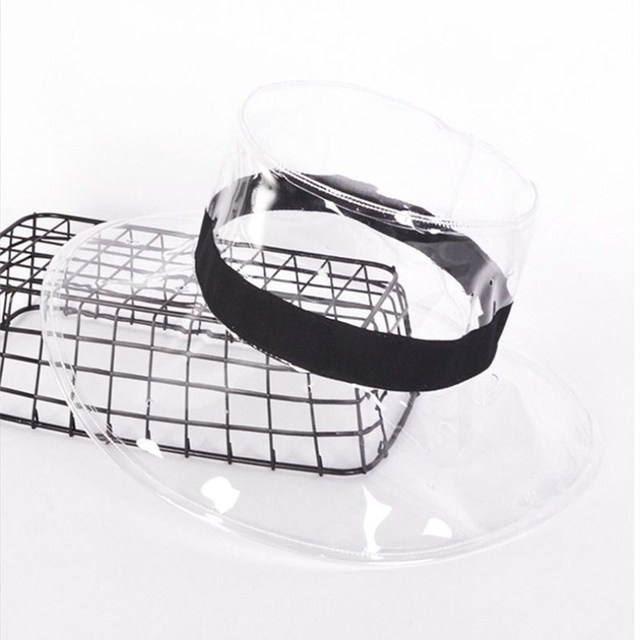 64811b3200f 2018 Summer Women PVC Clear Rain Hat Beach Travel Plastic Bucket Hats  Fashion Solid Wide Brim Sun Cap