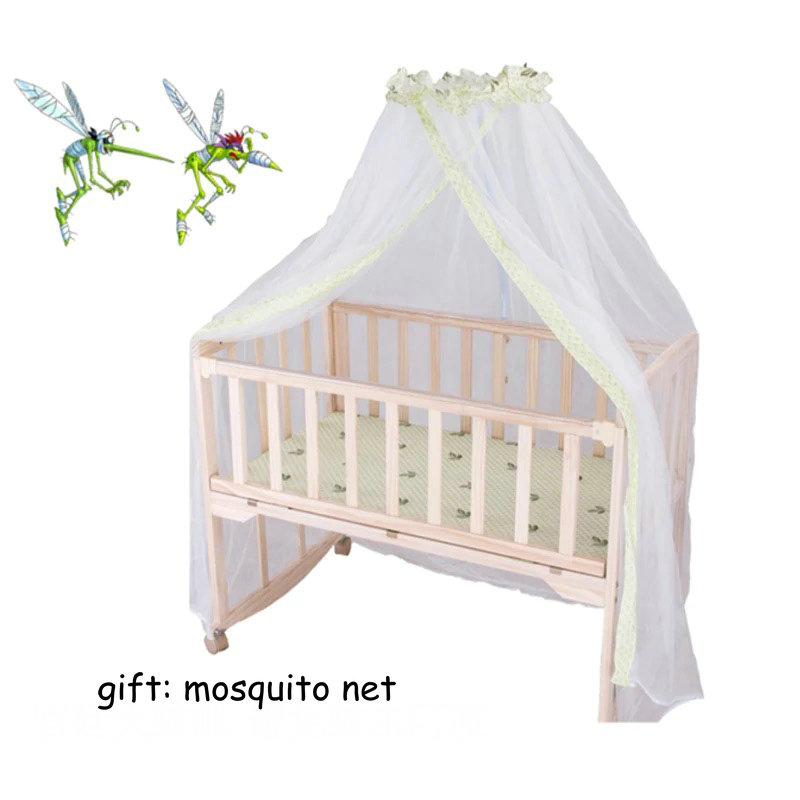 natural color baby bed pine wood no paint baby crib can be baby desk baby cradle eco-friendly bb bed with mosquito net