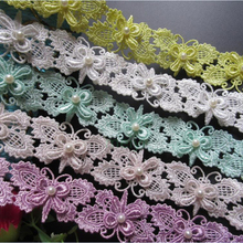 Ribbon-Fabric Craft Edge-Trim Crochet Wedding-Dress Lace Sewing Pearl Embroidered Applique