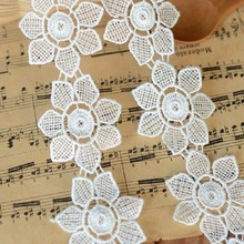 Accessories white lace soluble flowers 5 cm wide