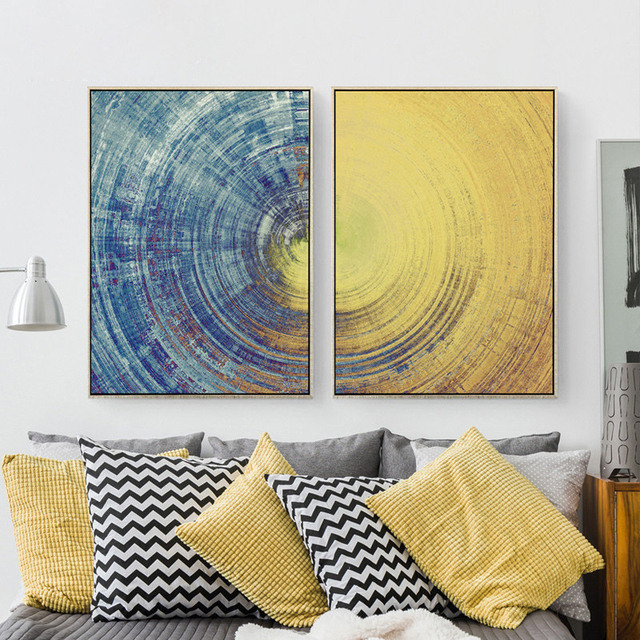 Sun And Moon Earth Texture Canvas Mural Paper No Frame Abstract