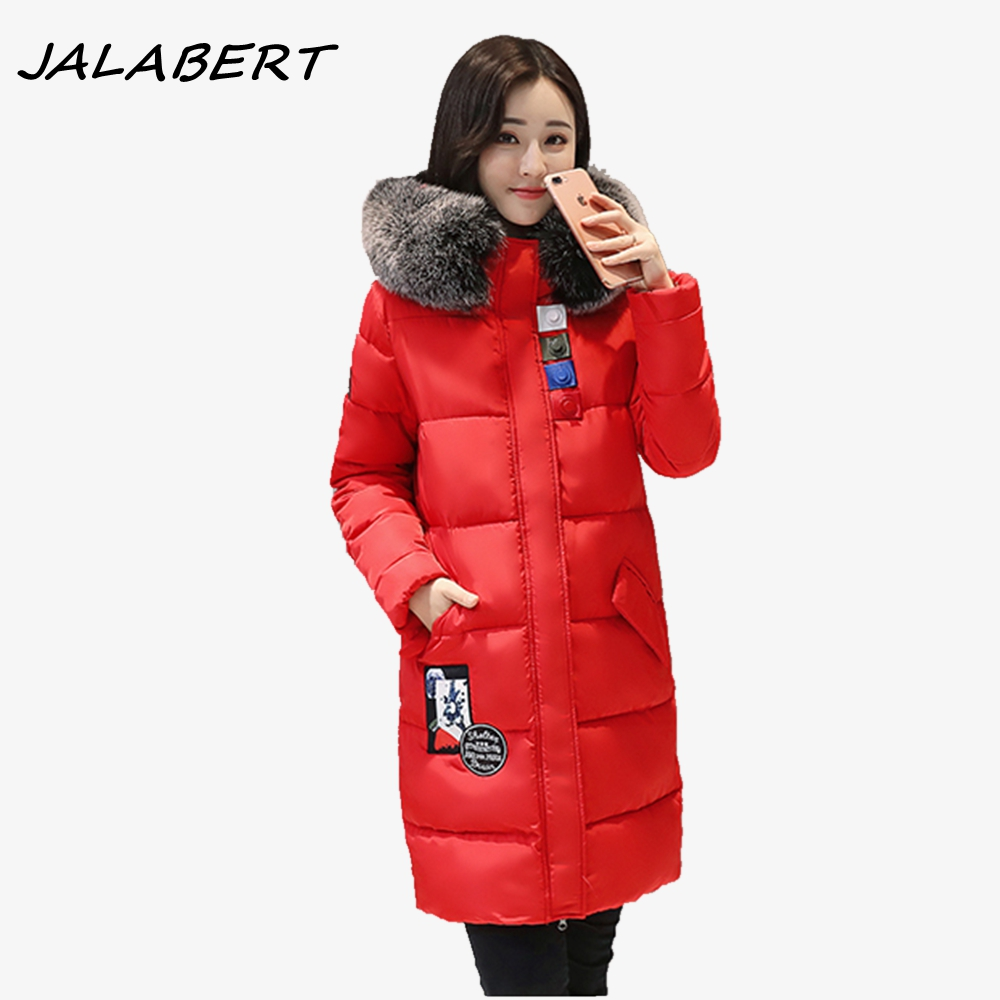 2017 Winter women's new feathers warm cotton fashion long big fur collar coat female hooded thick tide printing jacket free shipping pair taralabs rsc vector 2 rca interconnect cable with gold plated rca plug