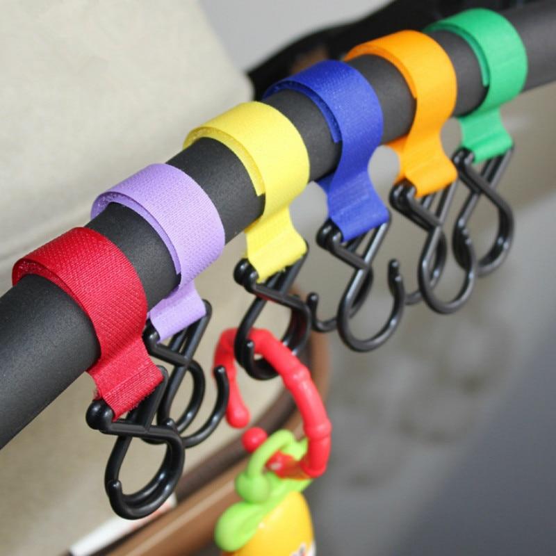 5pcs Baby Stroller Accessories Pram Pushchair Hanger Hanging Strap Hooks Random Color