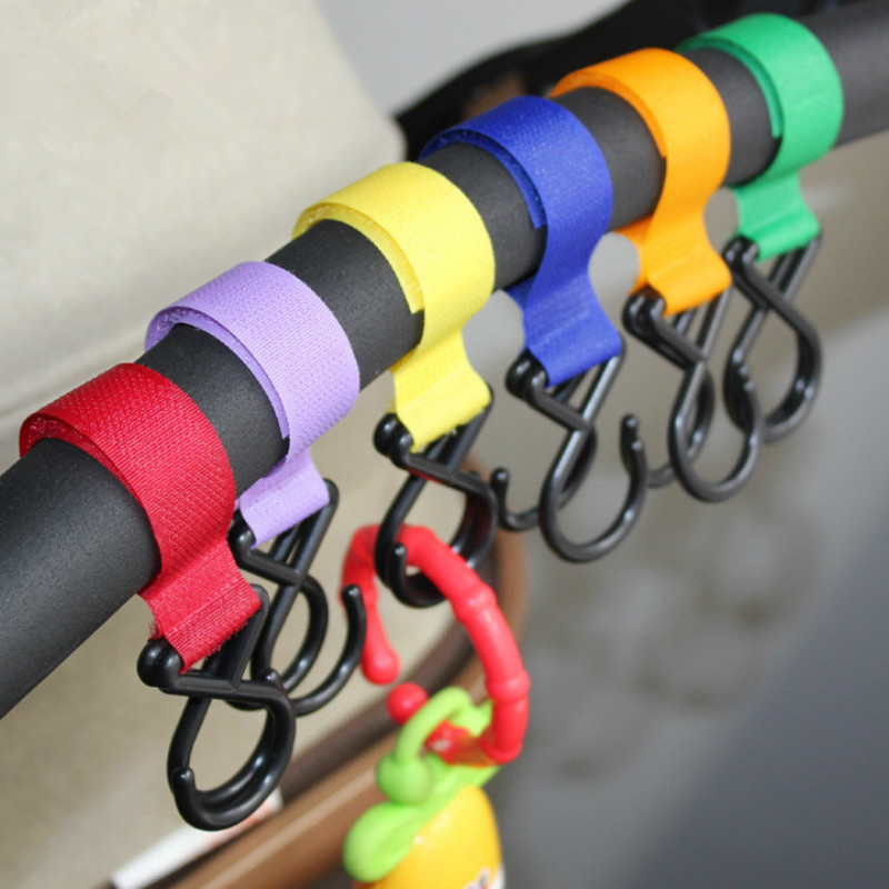 5pcs Pushchair Hanger Pram Hanging Strap With 2 Plastic Hooks Baby Stroller Accessories Random Color