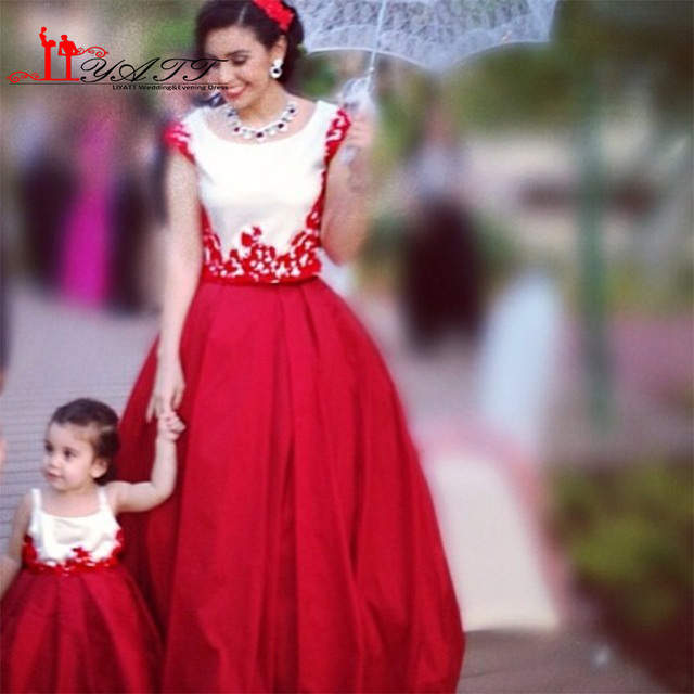 d00f0b4d8 2017 Red Ball Gown Flower Girls Dresses for Mother and Daughter 2 ...