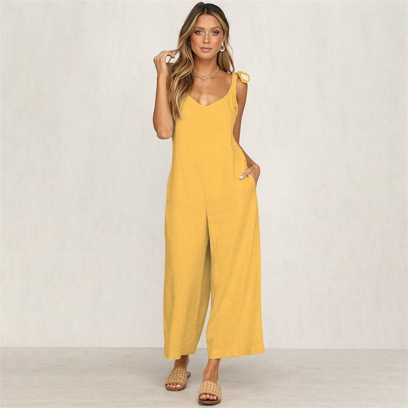 535e370084fc Fashion Wide Leg Jumpsuits Romper 2019 Summer Party Spaghetti Strap Long  Bodysuit Yellow Jumpsuit Vacation Women Trousers Set