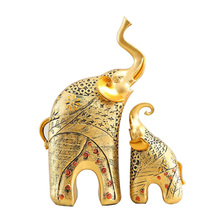 European Resin Elephant Statue Crafts Animal Ornament Gold Figurines Home Living Room Wine Cabinets Decor Wedding Gift