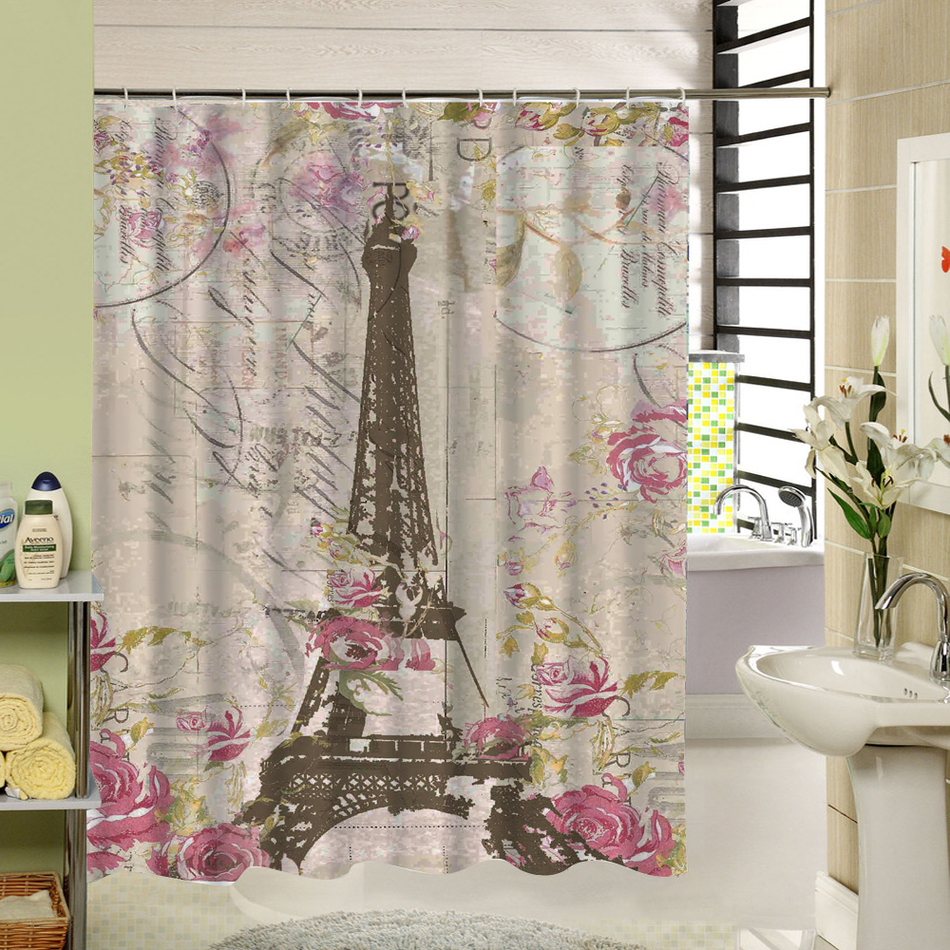 Picture Print Eiffel Tower Paris Shower Curtain Water Repellent Cloth  Bathroom Curtain Quality Product For Home Accessory In Shower Curtains From  Home ...